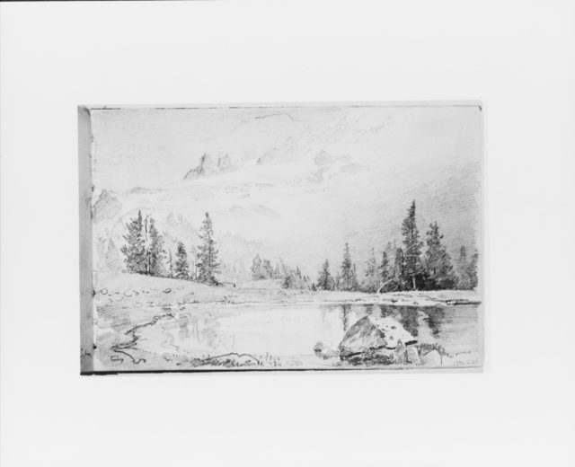 Mountain Landscape with Lake in Foreground [Mount Tacoma?] (from Sketchbook X)