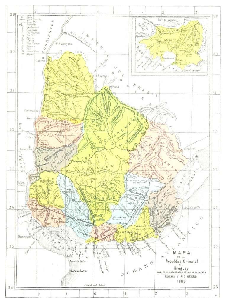 MAPA DE LA REPUBLICA ORIENTAL DEL URUGUAY