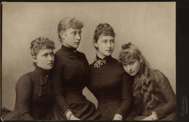 Princess Alix of Hesse with sisters : Irene, Victoria and Elizabeth . 1885.