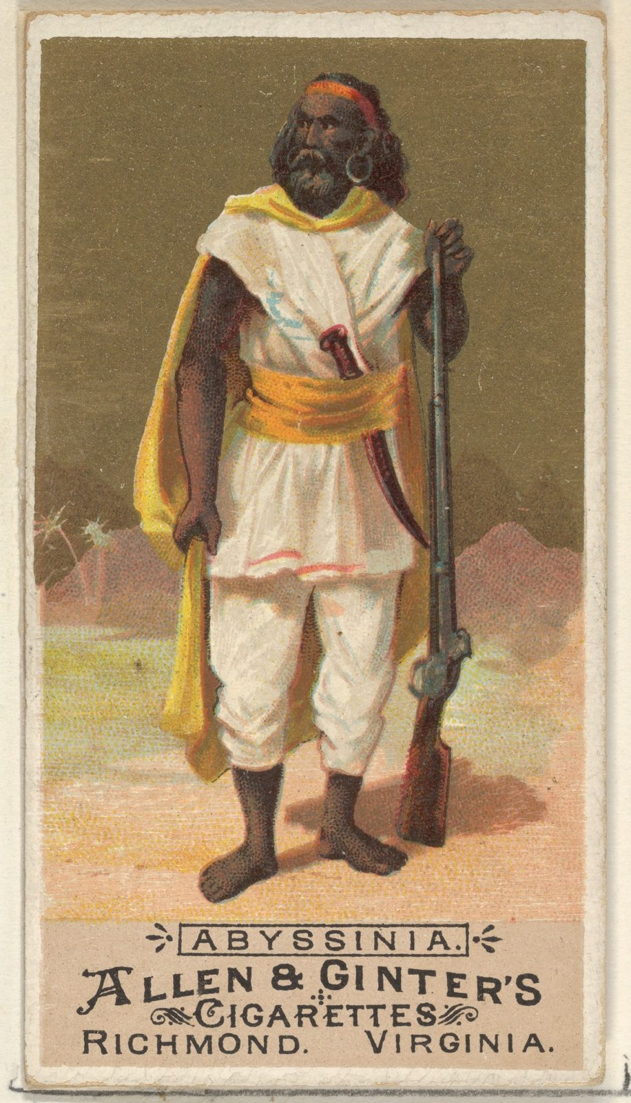 Abyssinia, from the Natives in Costume series (N16) for Allen & Ginter Cigarettes Brands