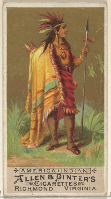 America (Indian), from the Natives in Costume series (N16) for Allen & Ginter Cigarettes Brands