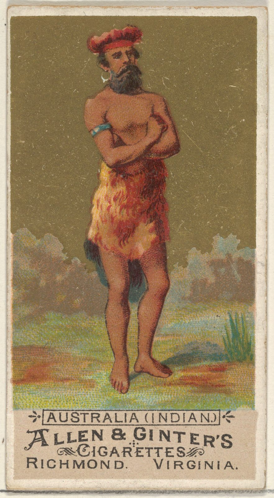 Australia (Indian), from the Natives in Costume series (N16) for Allen & Ginter Cigarettes Brands