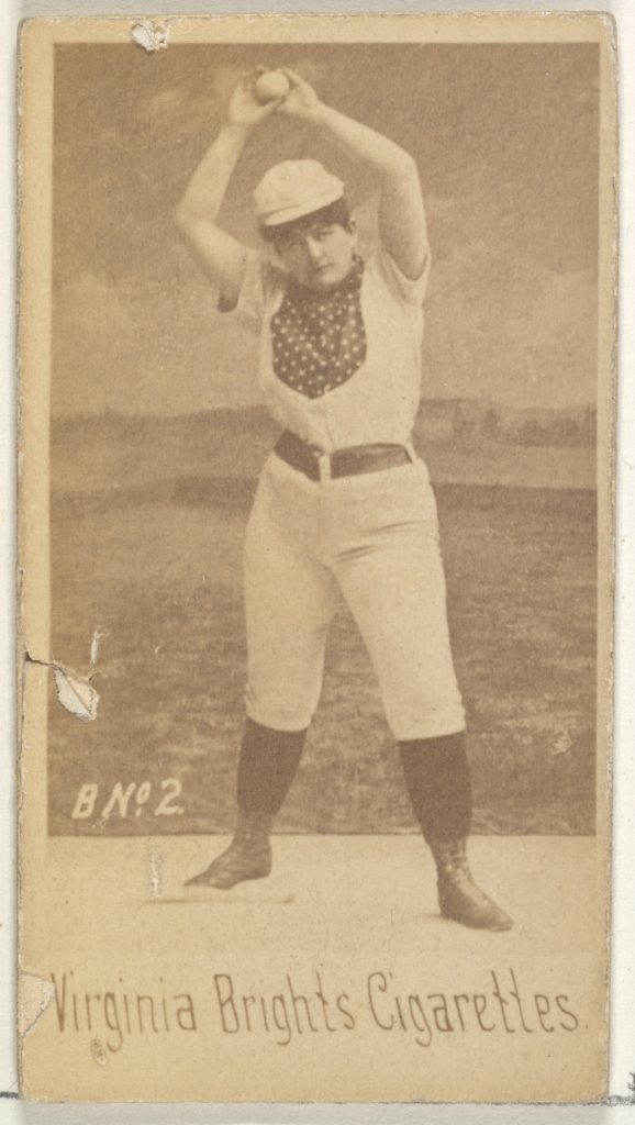 Card 2, from the Girl Baseball Players series (N48, Type 1) for Virginia Brights Cigarettes