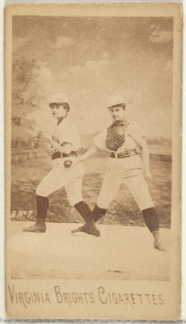 Card 7, from the Girl Baseball Players series (N48, Type 1) for Virginia Brights Cigarettes