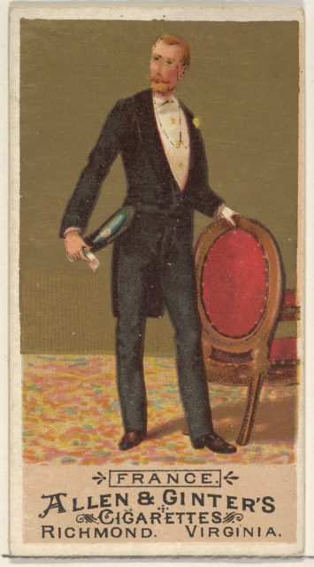 France, from the Natives in Costume series (N16) for Allen & Ginter Cigarettes Brands
