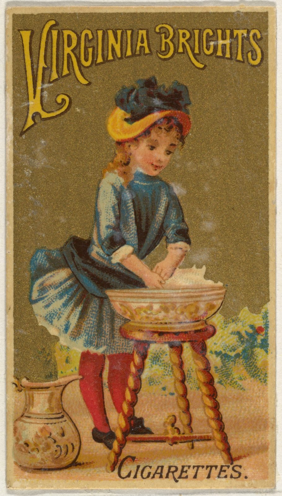 From the Girls and Children series (N64) promoting Virginia Brights Cigarettes for Allen & Ginter brand tobacco products