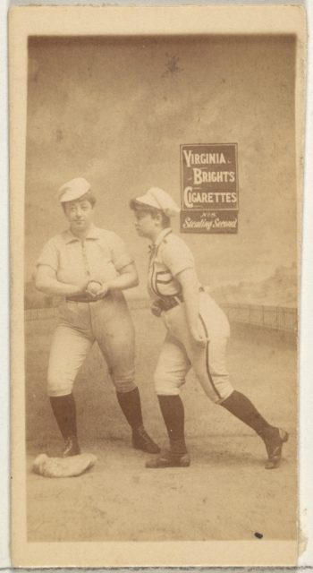 Stealing Second, from the Girl Baseball Players series (N48, Type 2) for Virginia Brights Cigarettes
