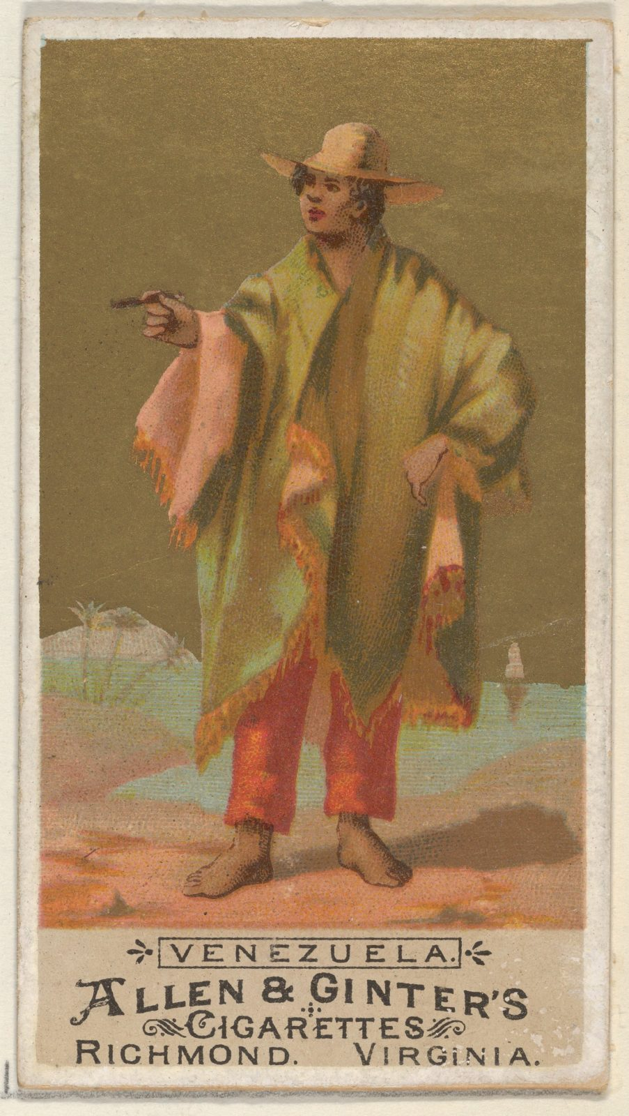 Venezuela, from the Natives in Costume series (N16) for Allen & Ginter Cigarettes Brands