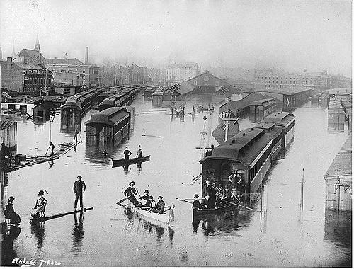 Flood, Bonaventure Depot, Montreal, QC, 1886