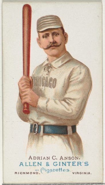 """Adrian """"Cap"""" Anson, Baseball Player, from World's Champions, Series 1 (N28) for Allen & Ginter Cigarettes"""