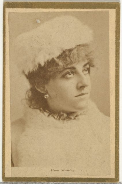 Alma Stanley, from the Actresses and Celebrities series (N60, Type 2) promoting Little Beauties Cigarettes for Allen & Ginter brand tobacco products