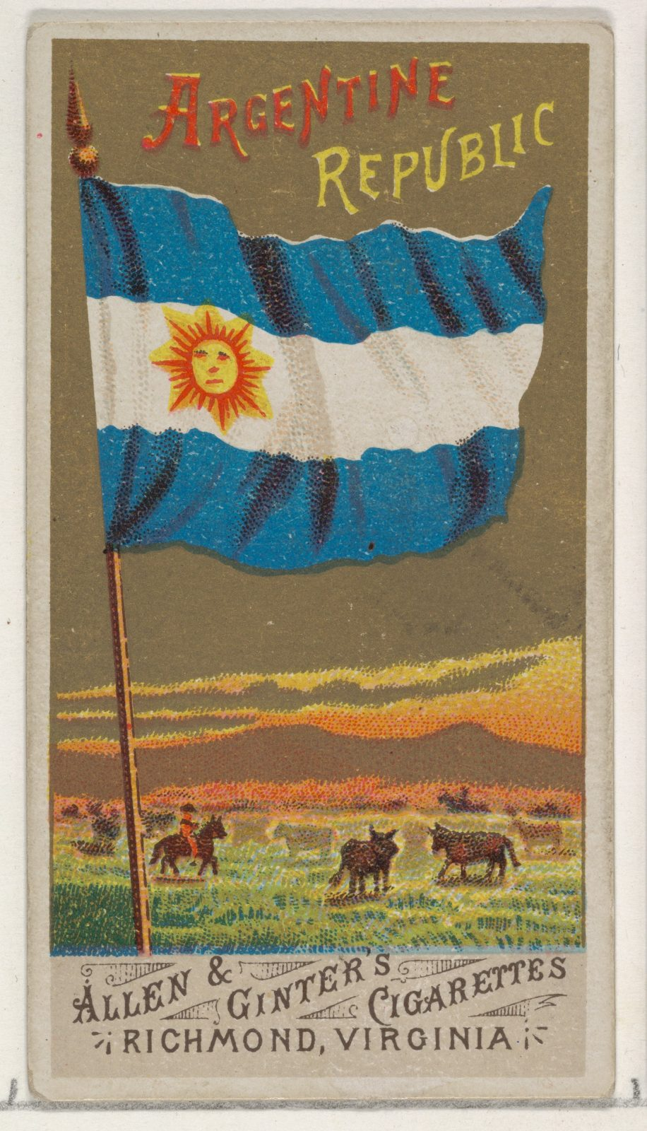 Argentine Republic, from Flags of All Nations, Series 1 (N9) for Allen & Ginter Cigarettes Brands