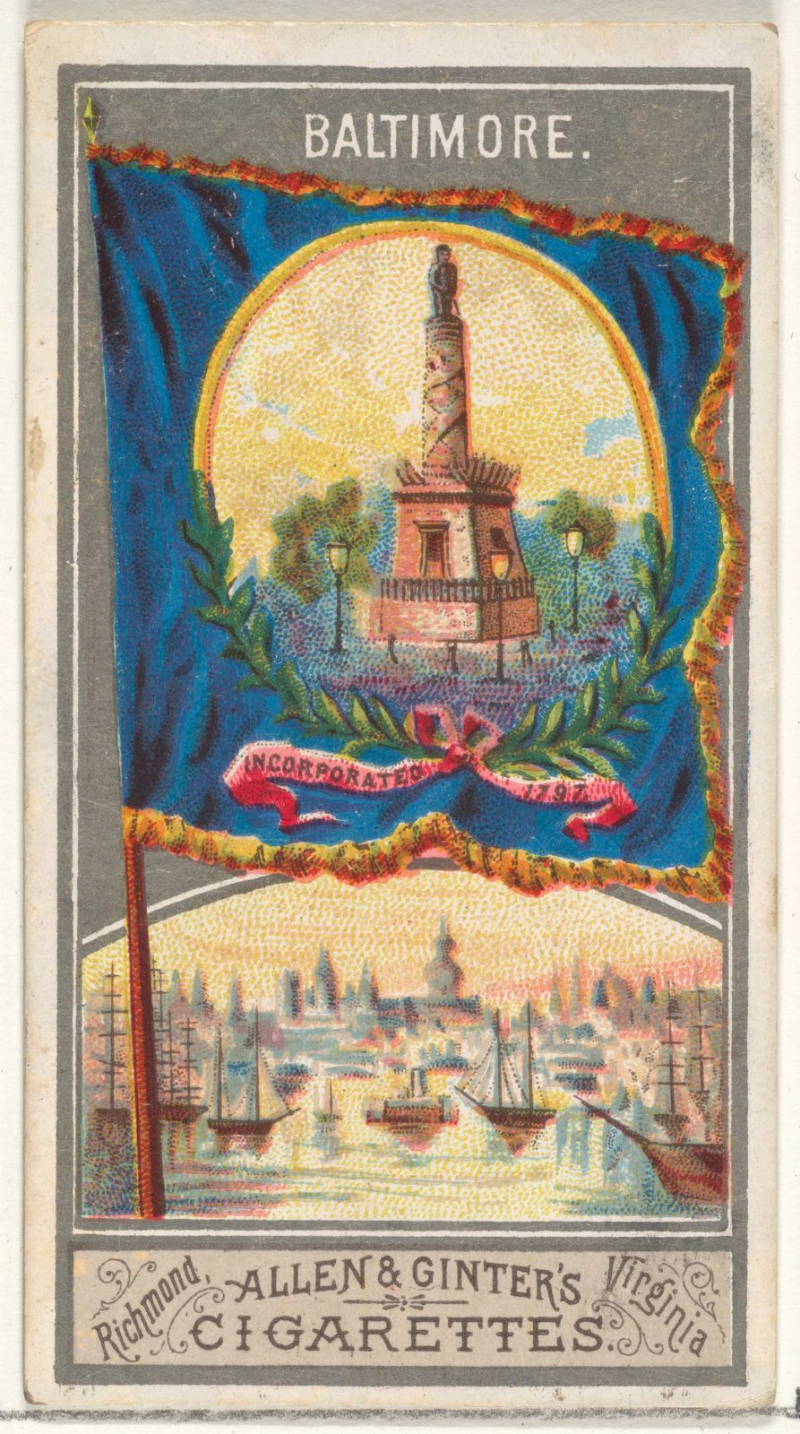 Baltimore, from the City Flags series (N6) for Allen & Ginter Cigarettes Brands