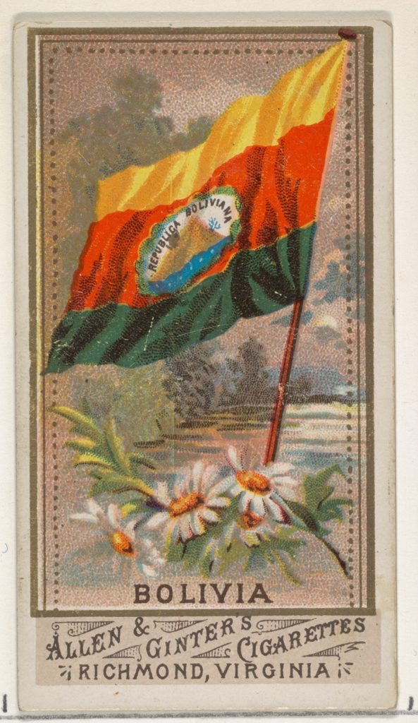 Bolivia, from Flags of All Nations, Series 1 (N9) for Allen & Ginter Cigarettes Brands