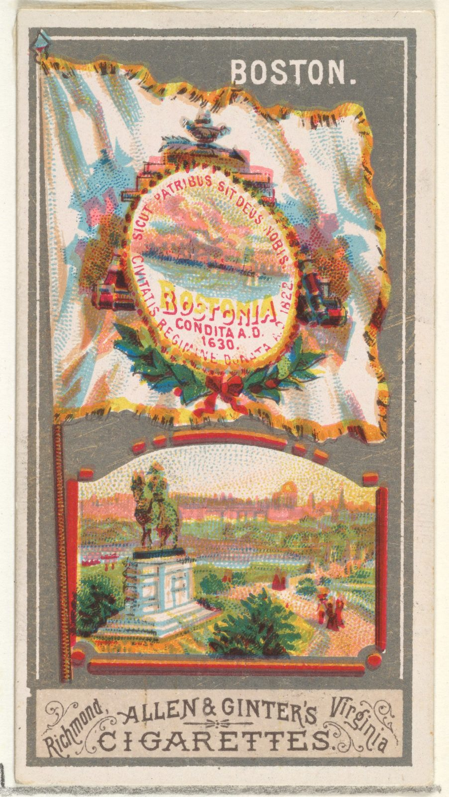 Boston, from the City Flags series (N6) for Allen & Ginter Cigarettes Brands