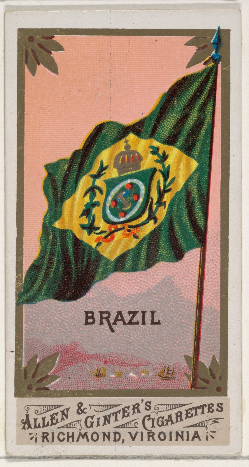 Brazil, from Flags of All Nations, Series 1 (N9) for Allen & Ginter Cigarettes Brands