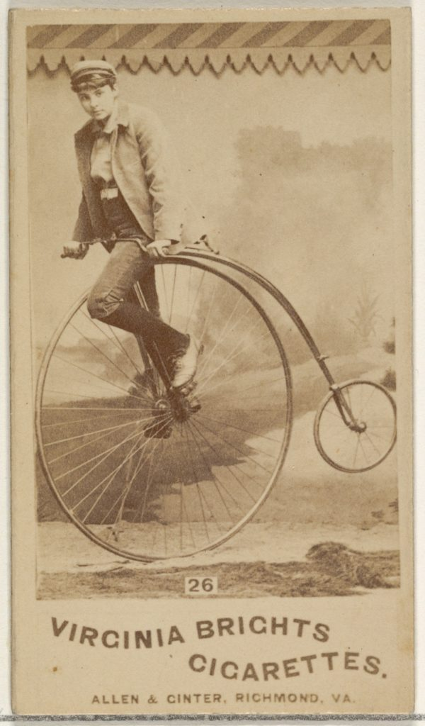 Card 26, from the Girl Cyclists series (N49) for Virginia Brights Cigarettes