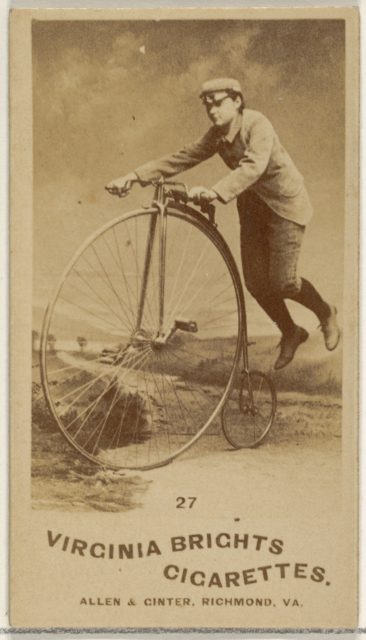 Card 27, from the Girl Cyclists series (N49) for Virginia Brights Cigarettes