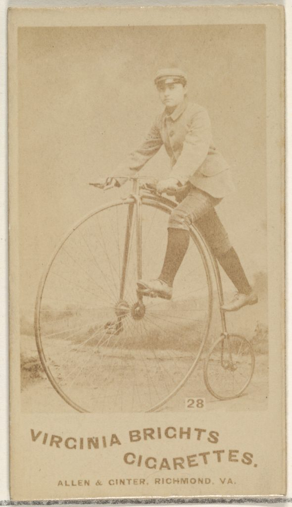 Card 28, from the Girl Cyclists series (N49) for Virginia Brights Cigarettes
