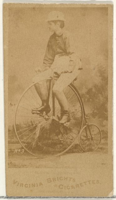 Card 3, from the Girl Cyclists series (N49) for Virginia Brights Cigarettes