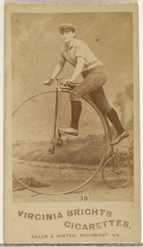 Card 38, from the Girl Cyclists series (N49) for Virginia Brights Cigarettes