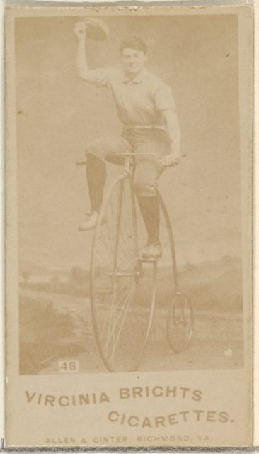 Card 48, from the Girl Cyclists series (N49) for Virginia Brights Cigarettes