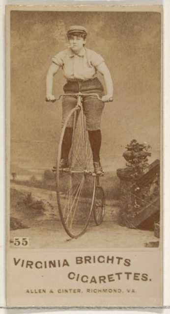 Card 55, from the Girl Cyclists series (N49) for Virginia Brights Cigarettes