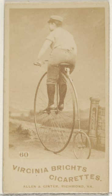 Card 60, from the Girl Cyclists series (N49) for Virginia Brights Cigarettes