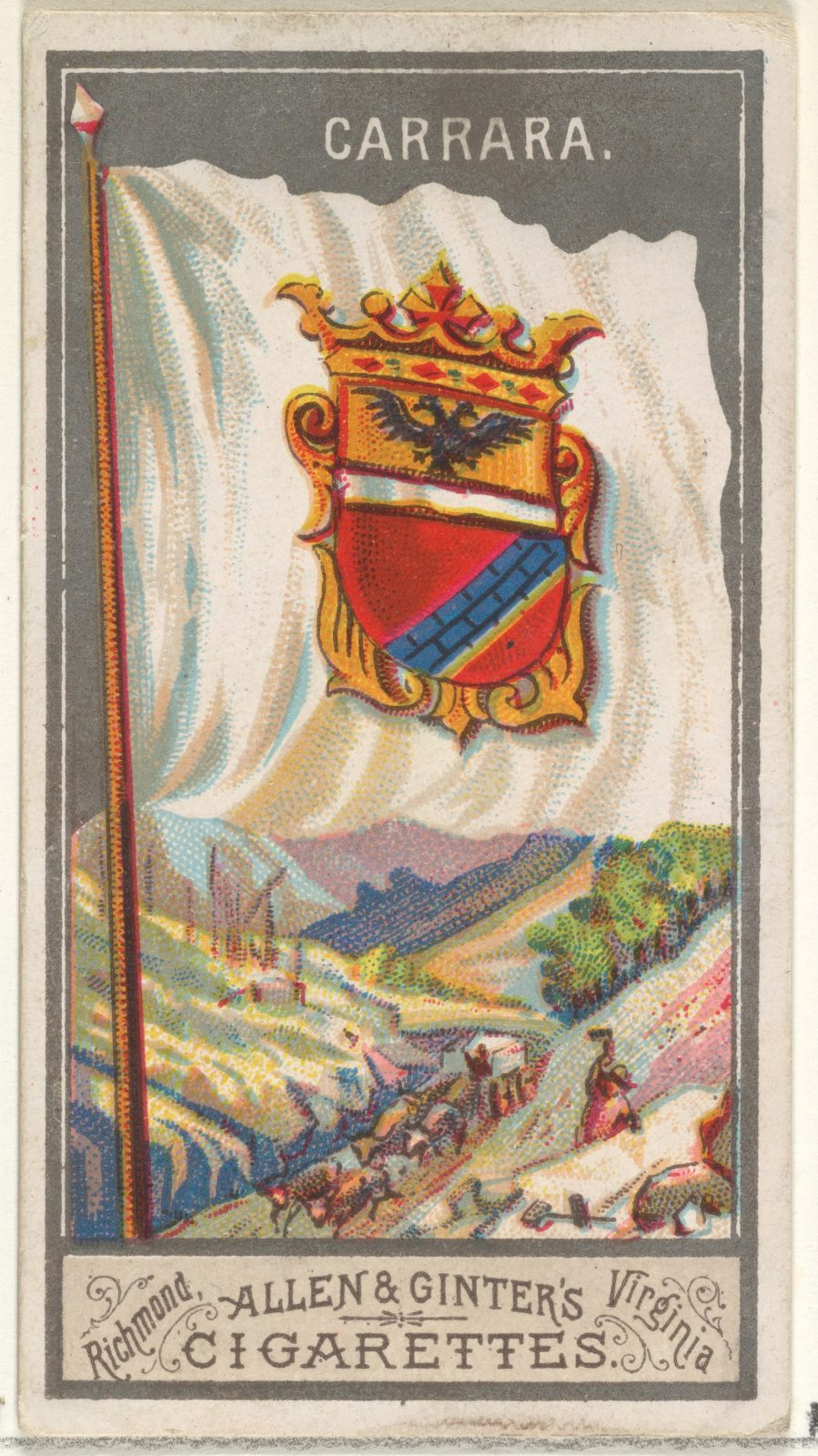 Carrara, from the City Flags series (N6) for Allen & Ginter Cigarettes Brands