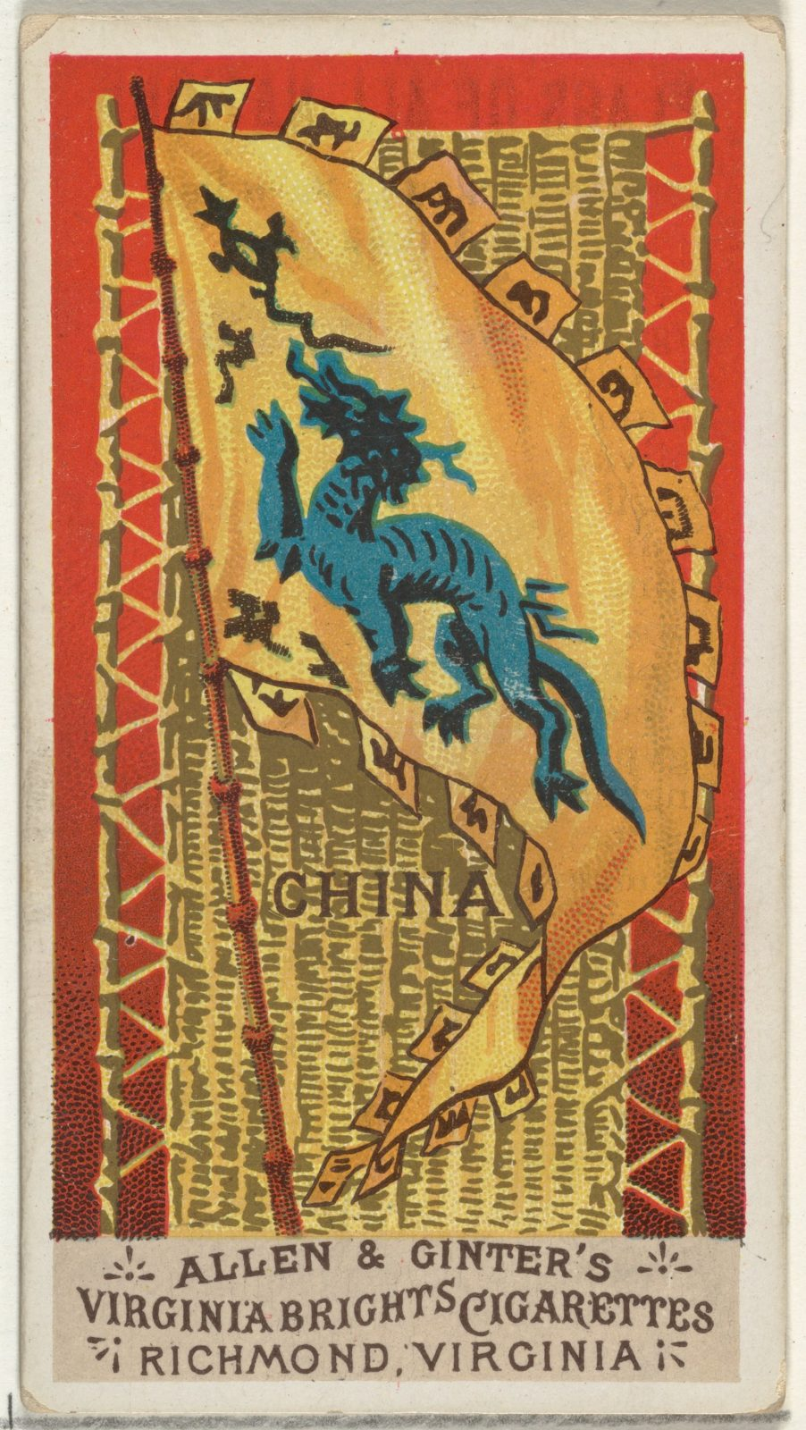 China, from Flags of All Nations, Series 1 (N9) for Allen & Ginter Cigarettes Brands