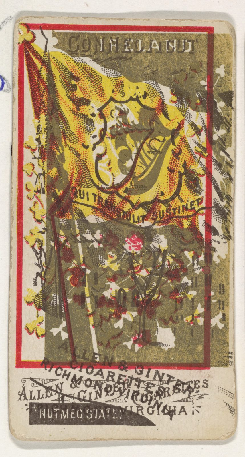 Connecticut and Ireland (double-printed card), from Flags of All Nations, Series 1 (N9) for Allen & Ginter Cigarettes Brands