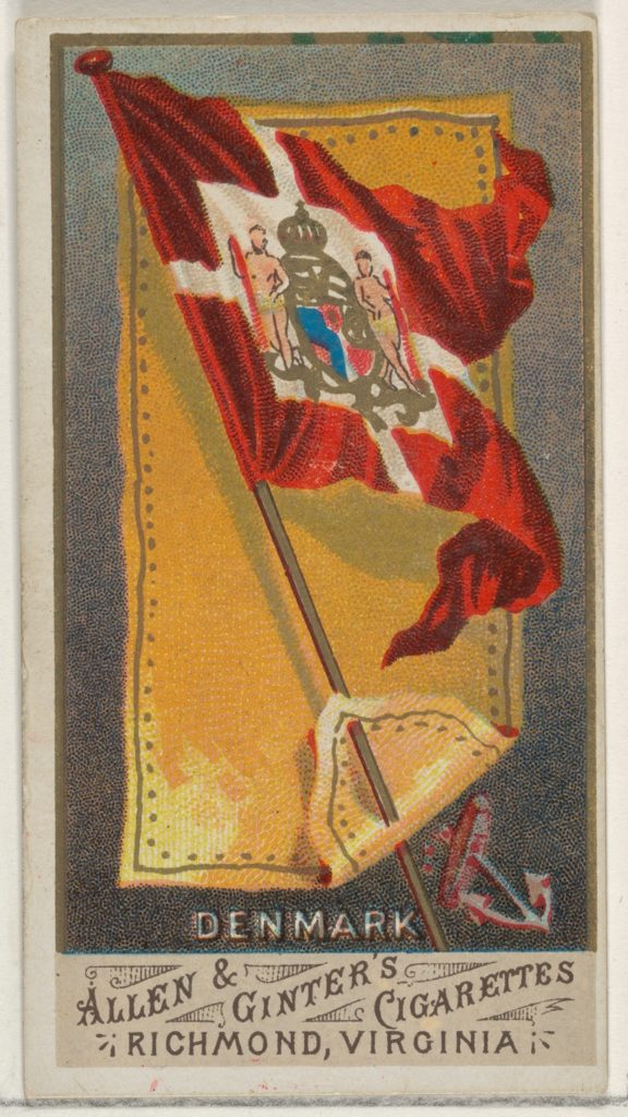 Denmark, from Flags of All Nations, Series 1 (N9) for Allen & Ginter Cigarettes Brands