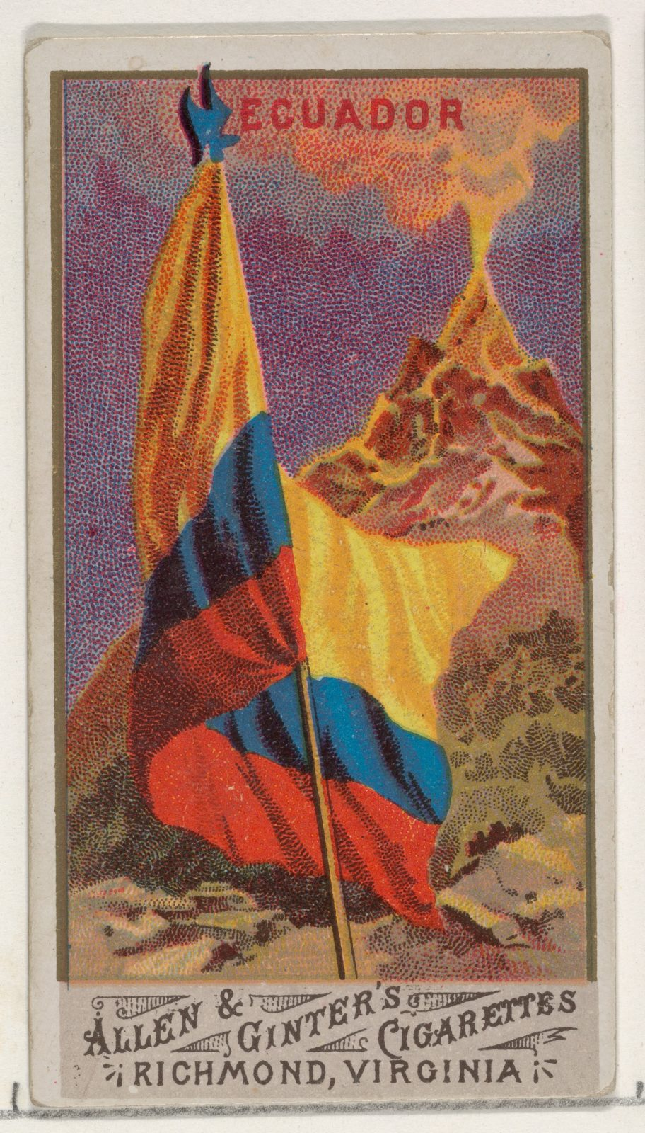 Ecuador, from Flags of All Nations, Series 1 (N9) for Allen & Ginter Cigarettes Brands