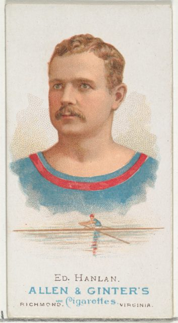 """Edward """"Ned"""" Hanlan, Oarsman, from World's Champions, Series 1 (N28) for Allen & Ginter Cigarettes"""