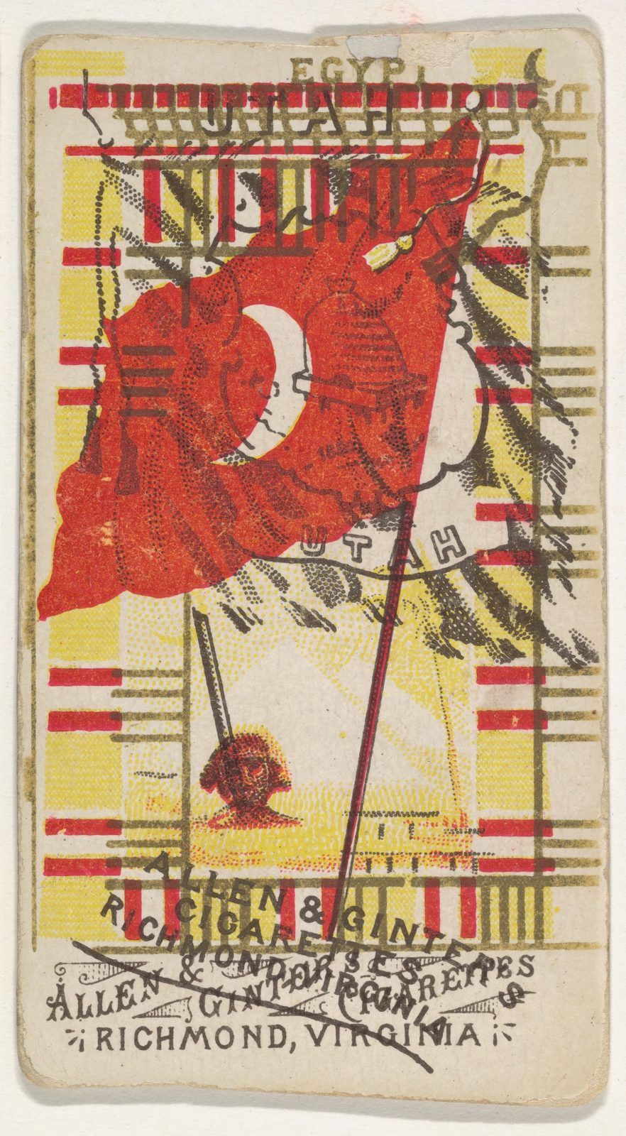 Egypt and Utah (double-printed card), from Flags of All Nations, Series 1 (N9) for Allen & Ginter Cigarettes Brands