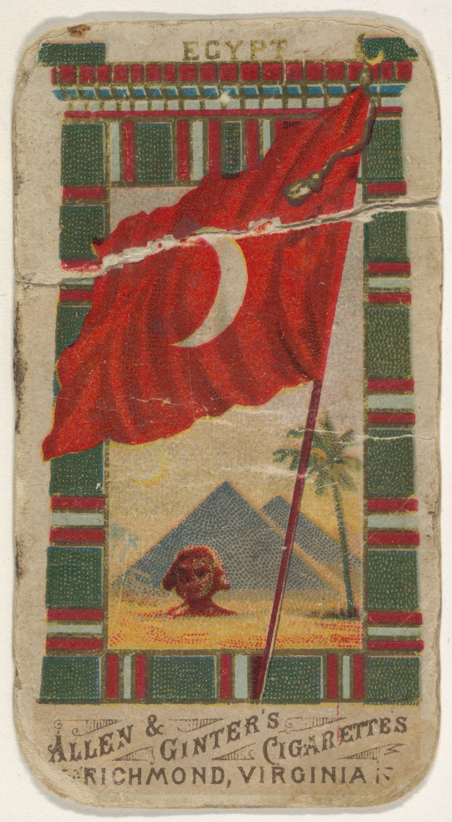 Egypt, from Flags of All Nations, Series 1 (N9) for Allen & Ginter Cigarettes Brands