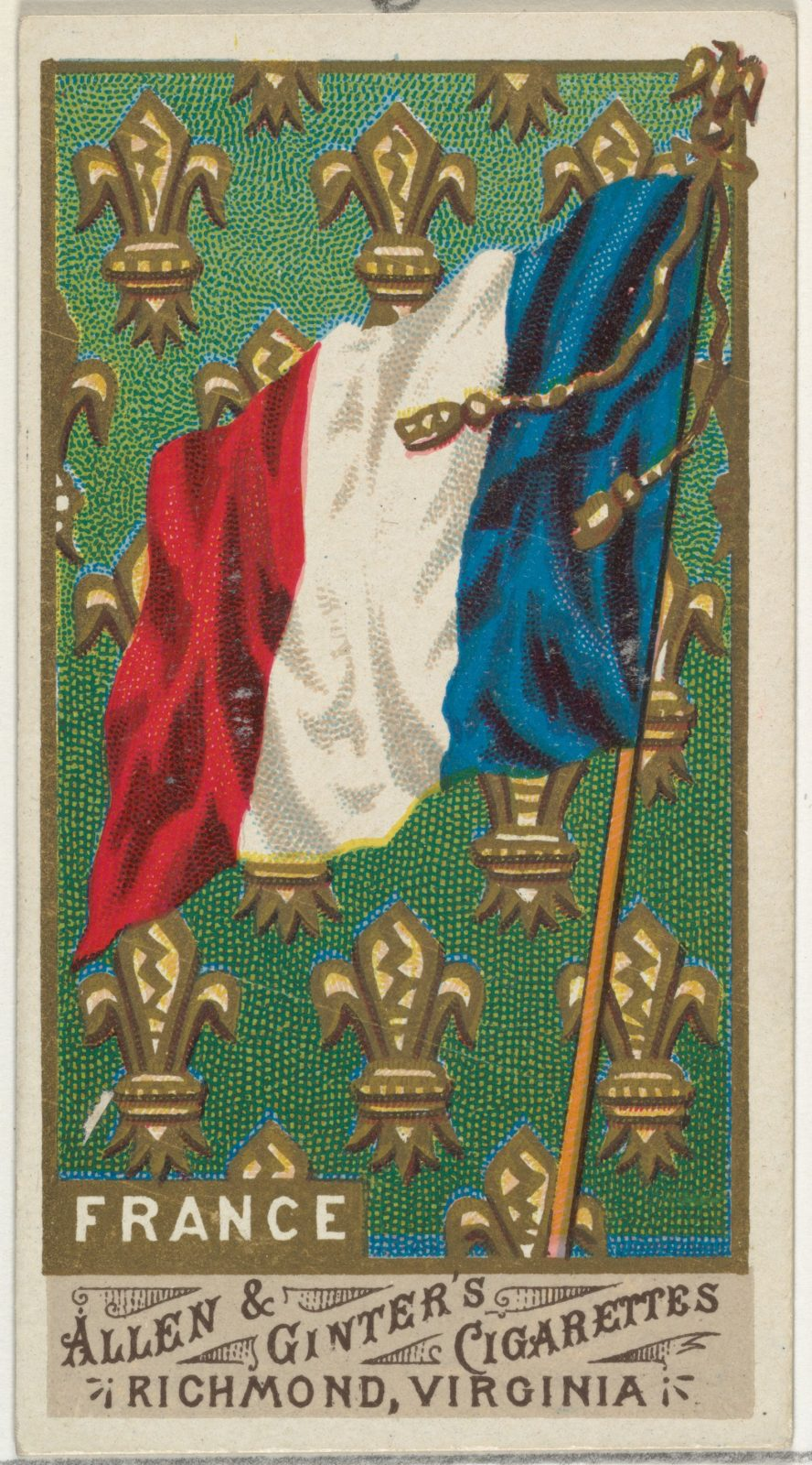 France, from Flags of All Nations, Series 1 (N9) for Allen & Ginter Cigarettes Brands