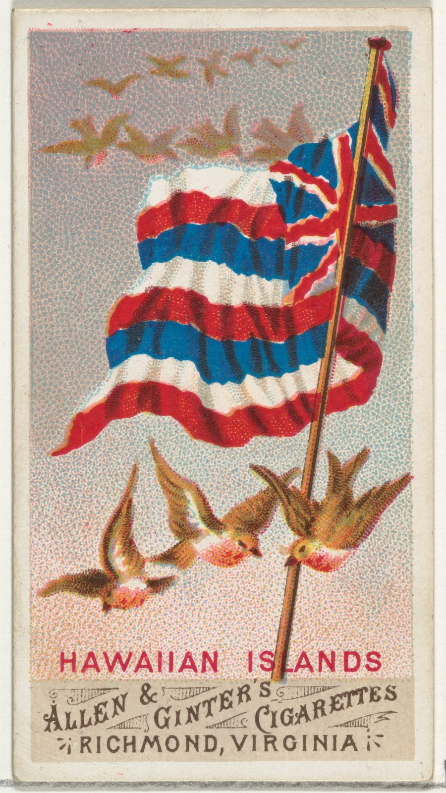 Hawaiian Islands, from Flags of All Nations, Series 1 (N9) for Allen & Ginter Cigarettes Brands