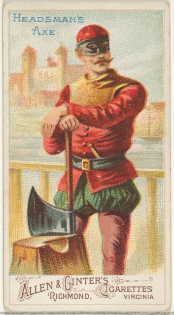 Headsman's Axe, from the Arms of All Nations series (N3) for Allen & Ginter Cigarettes Brands