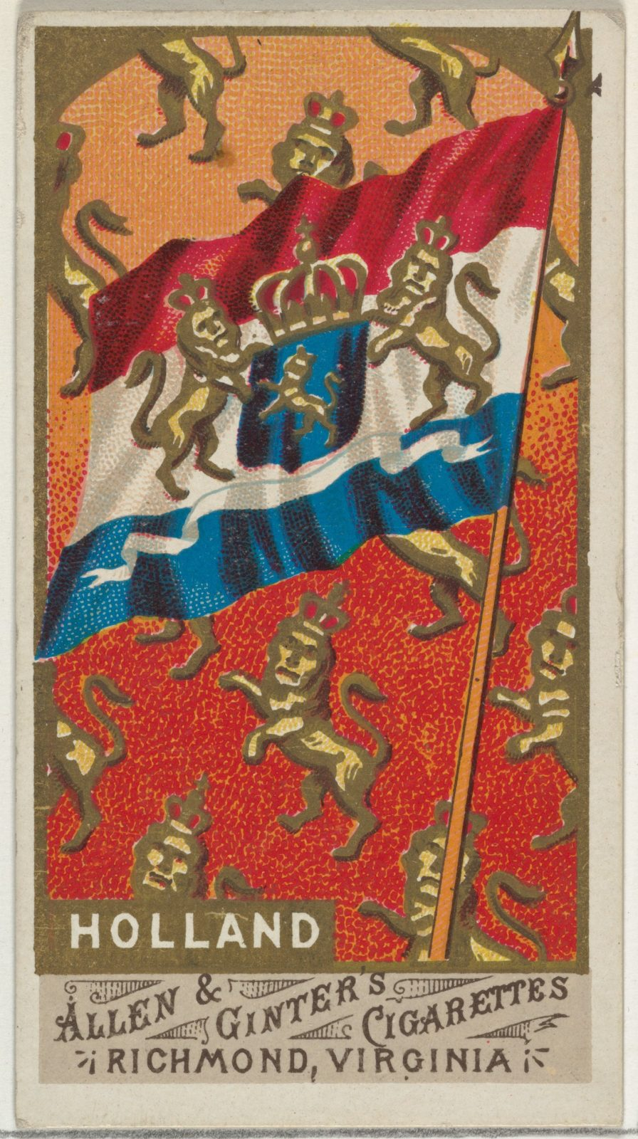 Holland, from Flags of All Nations, Series 1 (N9) for Allen & Ginter Cigarettes Brands
