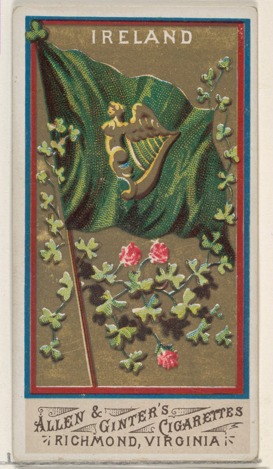 Ireland, from Flags of All Nations, Series 1 (N9) for Allen & Ginter Cigarettes Brands