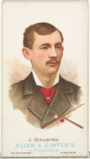 Jacob Schaefer, Billiard Player, from World's Champions, Series 1 (N28) for Allen & Ginter Cigarettes
