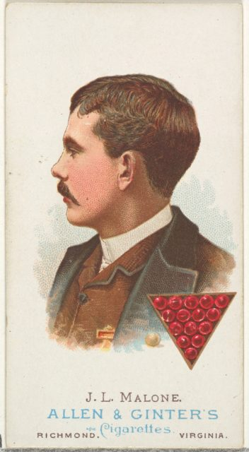 J.L. Malone, Pool Player, from World's Champions, Series 1 (N28) for Allen & Ginter Cigarettes