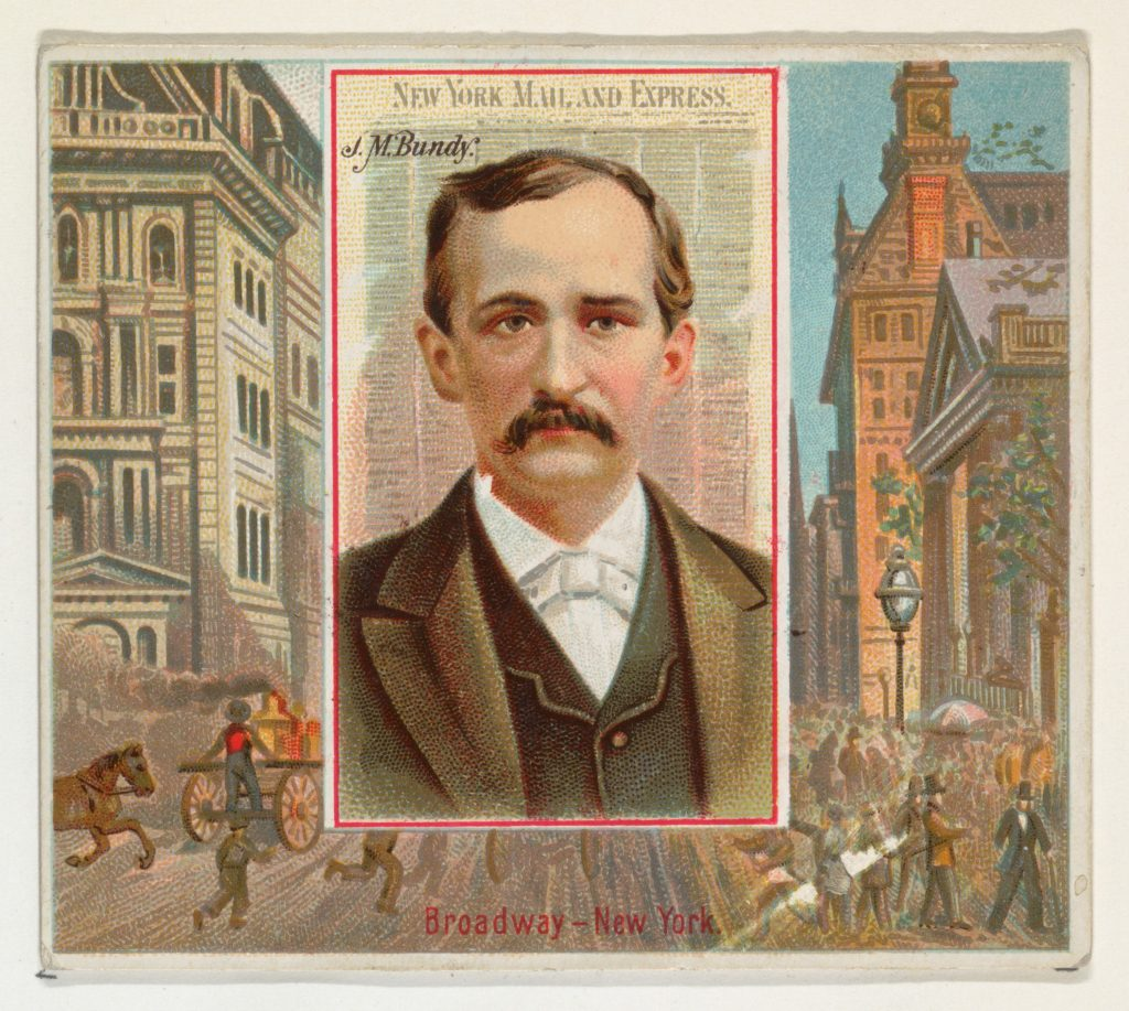J.M. Bundy, New York Mail and Express, from the American Editors series (N35) for Allen & Ginter Cigarettes