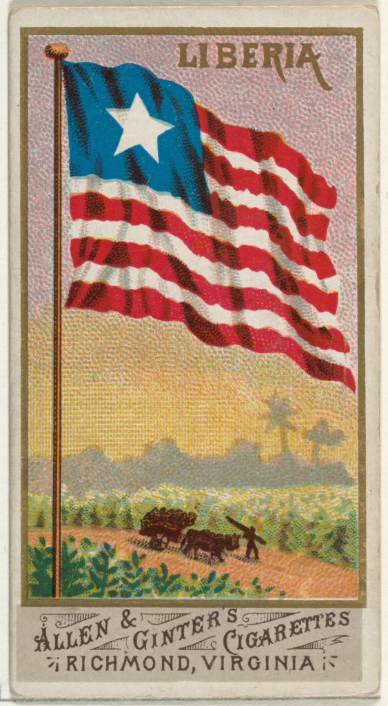 Liberia, from Flags of All Nations, Series 1 (N9) for Allen & Ginter Cigarettes Brands