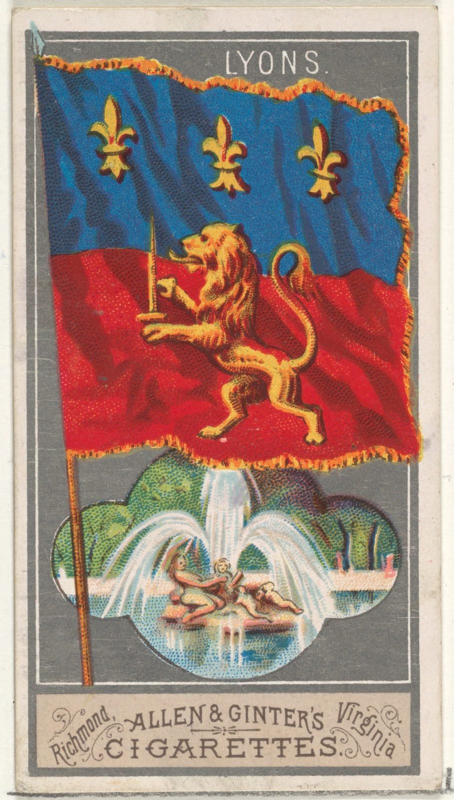 Lyons, from the City Flags series (N6) for Allen & Ginter Cigarettes Brands