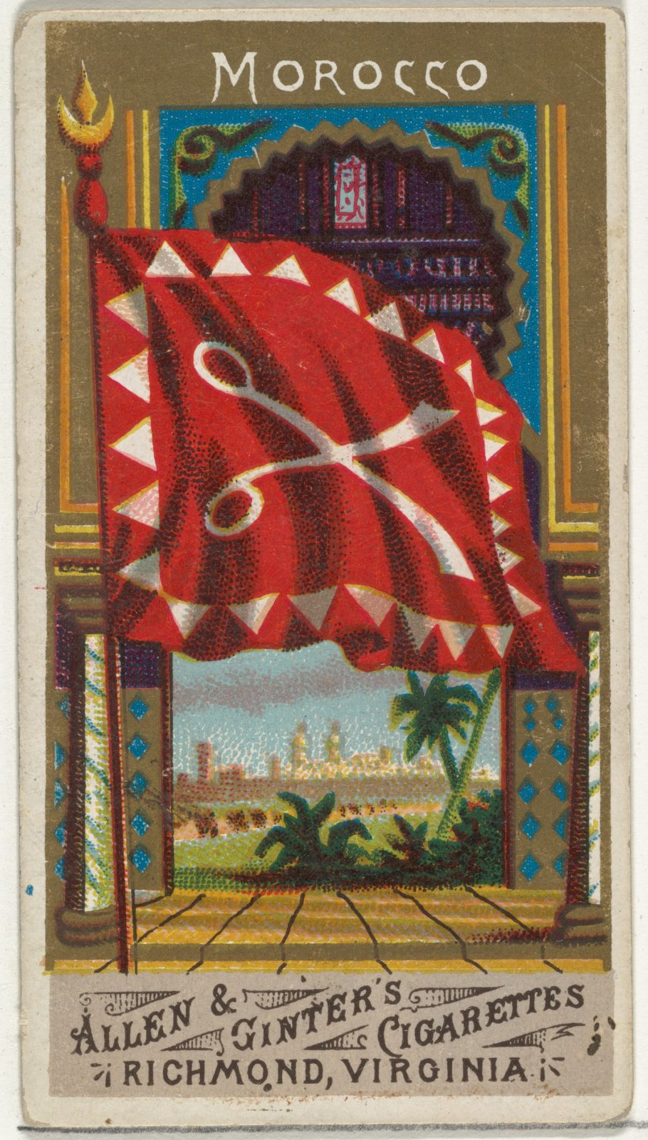 Morocco, from Flags of All Nations, Series 1 (N9) for Allen & Ginter Cigarettes Brands