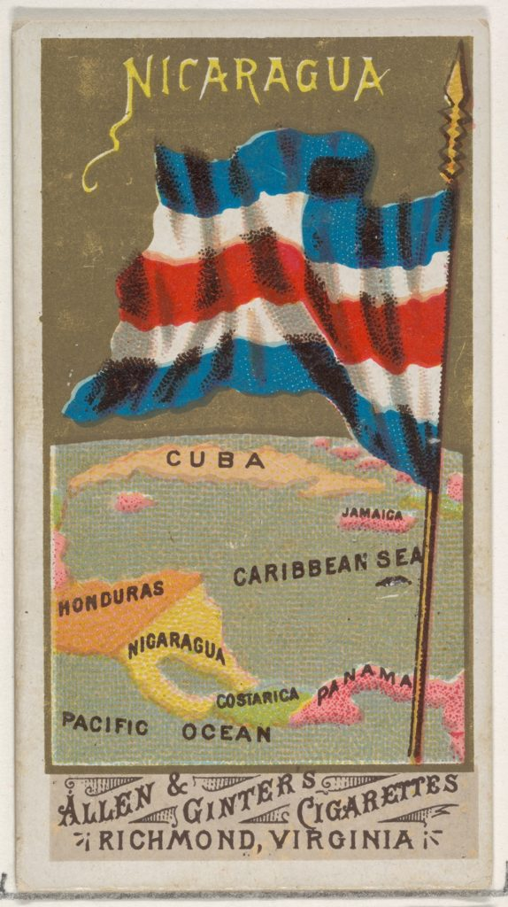 Nicaragua, from Flags of All Nations, Series 1 (N9) for Allen & Ginter Cigarettes Brands