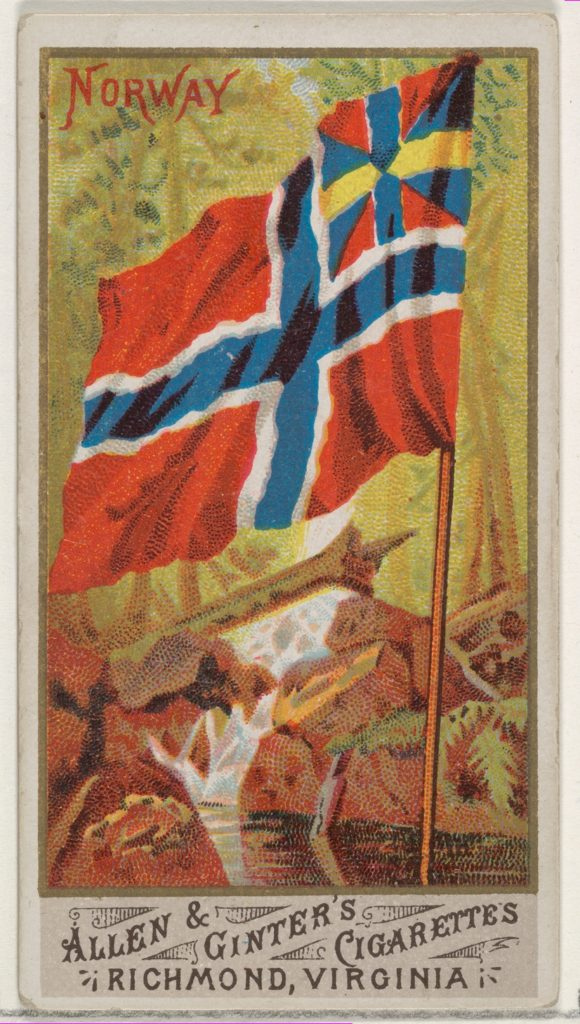 Norway, from Flags of All Nations, Series 1 (N9) for Allen & Ginter Cigarettes Brands