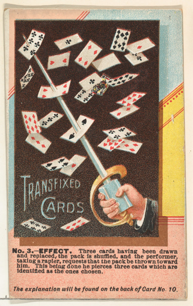 Number 3, Transfixed Cards, from the Tricks with Cards series (N138) issued by W. Duke, Sons & Co. to promote Honest Long Cut Tobacco